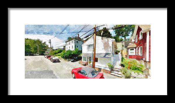 Watercolors Framed Print featuring the painting Sunny Side Of The Street by Rachel Niedermayer
