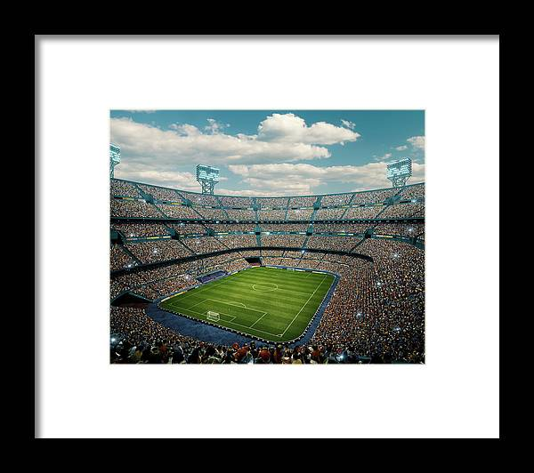 Event Framed Print featuring the photograph Sunny Soccer Stadium Panorama by Dmytro Aksonov