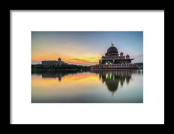 Tranquility Framed Print featuring the photograph Sunrise | Masjid Putra, Putrajaya | Hdr by Mohamad Zaidi Photography