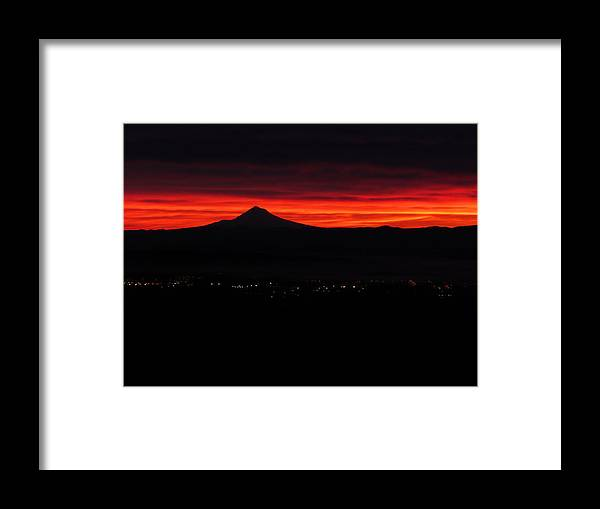 Gorgeous Sunrise Over Mount Hood And Wilsonville Framed Print featuring the photograph Sunrise - Mount Hood by Madeline Dawson
