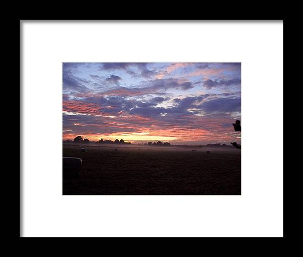 Sunrise Framed Print featuring the photograph Sunrise and Mist by Joyce Woodhouse