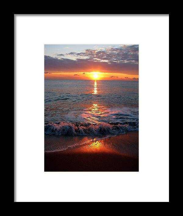 Beautiful Sunrise At Atlantic Beach Framed Print featuring the photograph Sunrise At Beach by Laura Stoltzfus
