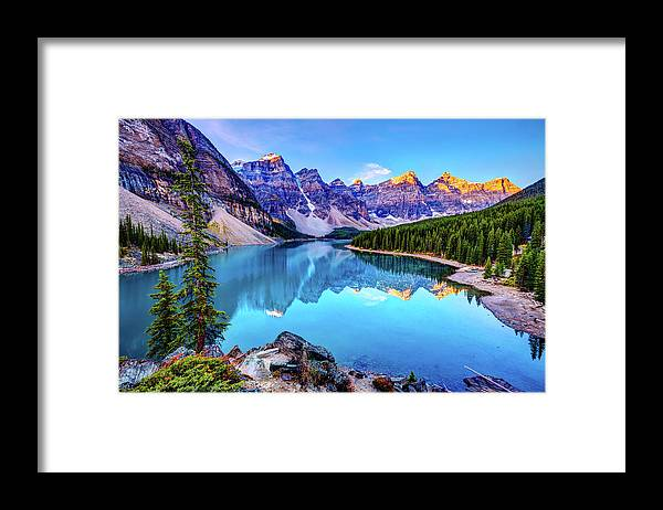 Tranquility Framed Print featuring the photograph Sunrise At Moraine Lake by Wan Ru Chen