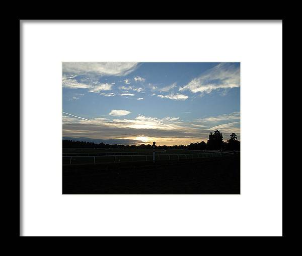 Horses Framed Print featuring the digital art Sunrise At Oklahoma Race Track by Dominick Carlotti