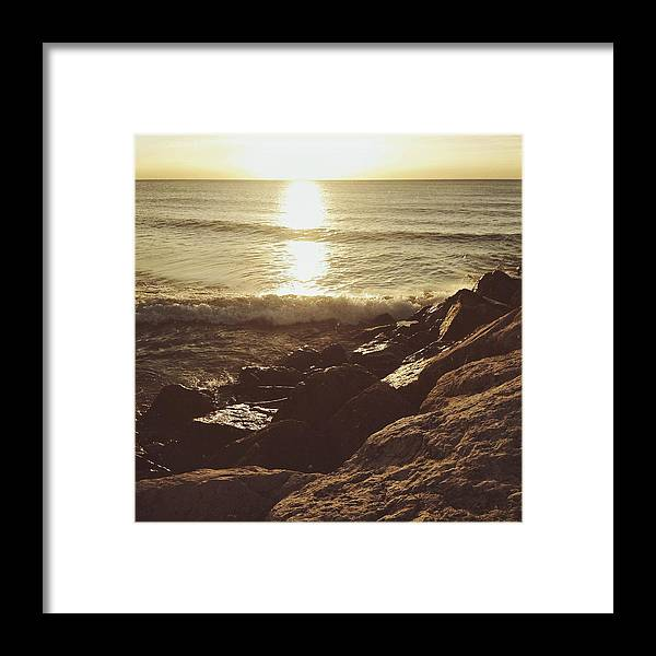 Sunrise Framed Print featuring the photograph Sunrise By The Rocks by Nikki Watson  McInnes