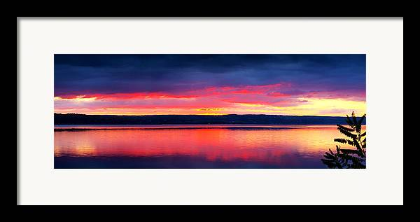 Lake Framed Print featuring the photograph Sunrise In Cayuga Lake Ithaca New York Panoramic Photography by Paul Ge