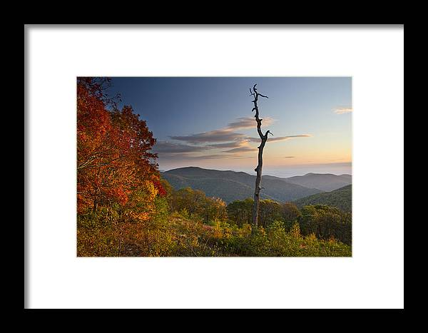 Shenandoah Framed Print featuring the photograph Sunrise In Shenandoah National Park by Pierre Leclerc Photography