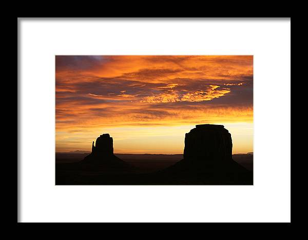 Landscape Framed Print featuring the photograph Sunrise Monument Valley by Cheryl Birkhead