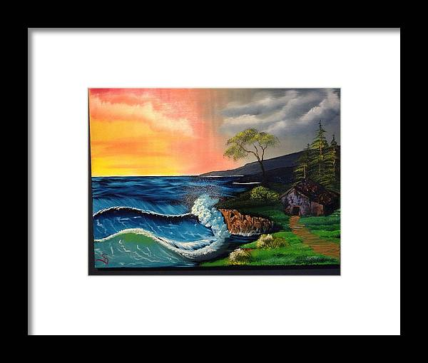 Ocean Framed Print featuring the painting Sunrise Ocean by Dave Steps