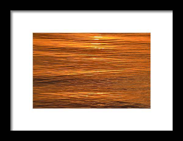 Abstract Framed Print featuring the photograph Sunrise On Orange Waves by Lyle Crump
