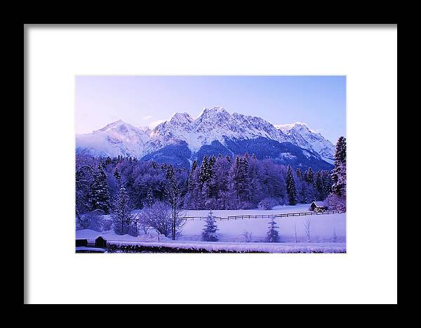 Snow Landscape Framed Print featuring the painting Sunrise On Snowy Mountain by Misuk Jenkins
