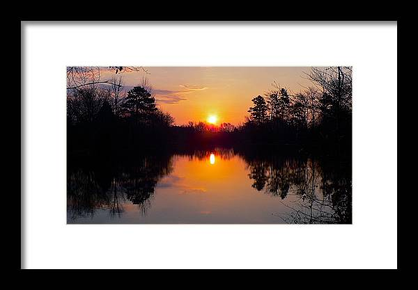 Sunrise Framed Print featuring the photograph Sunrise On The Pond by Jean Wright