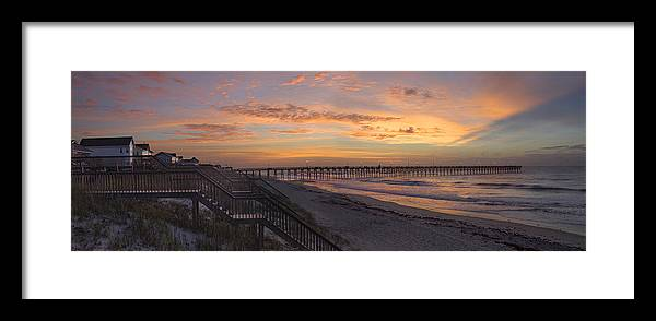 Fishing Pier Framed Print featuring the photograph Sunrise On Topsail Island Panoramic by Mike McGlothlen