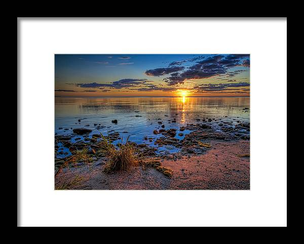 Sun Framed Print featuring the photograph Sunrise over Lake Michigan by Scott Norris
