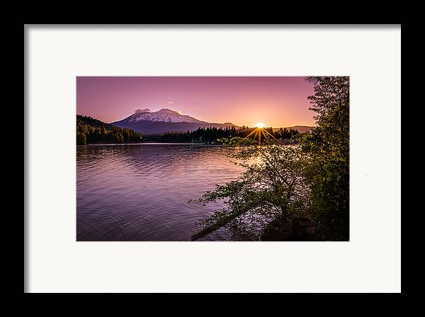 California Framed Print featuring the photograph Sunrise Over Lake Siskiyou And Mt Shasta by Scott McGuire