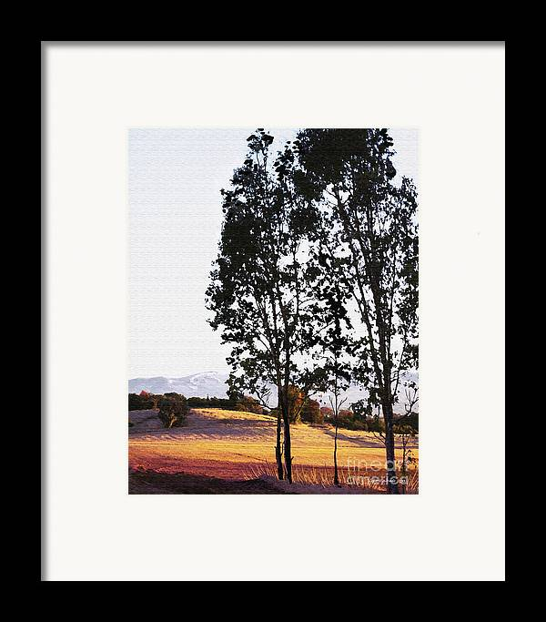 Wine Country Framed Print featuring the painting Sunrise Over Northern California Hills by Artist and Photographer Laura Wrede