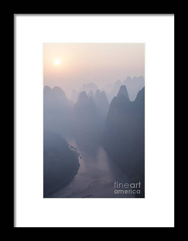 Autumn Framed Print featuring the photograph Sunrise Over The Karst Peaks - China by Matteo Colombo
