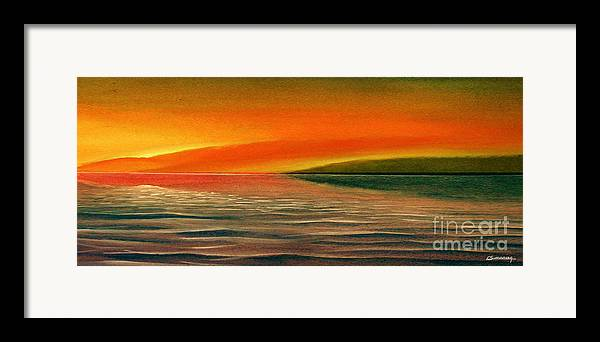 Sunset Framed Print featuring the painting Sunrise Over The Sea by Christian Simonian