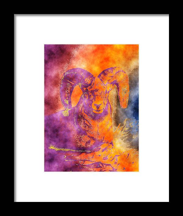 Wildlife Art Paintings Framed Print featuring the painting Sunrise Ram Water Color by Mayhem Mediums