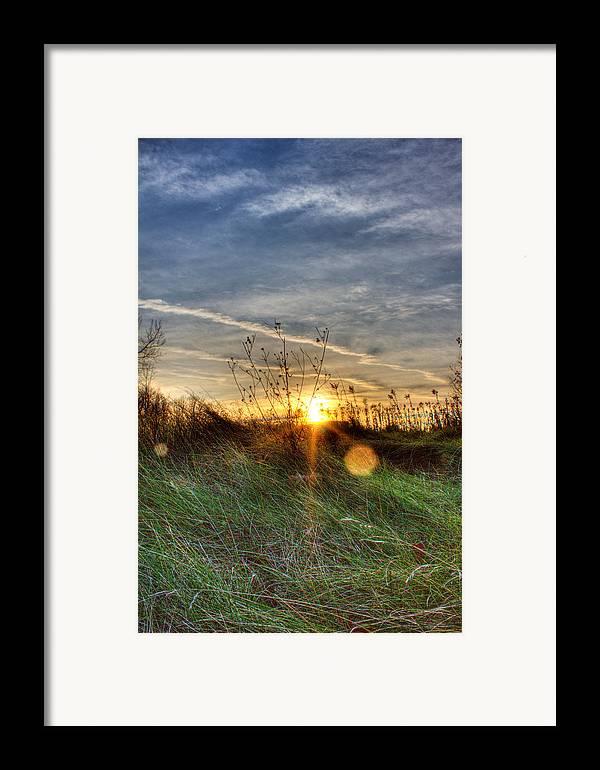 Sunrise Framed Print featuring the photograph Sunrise Through Grass by Tim Buisman
