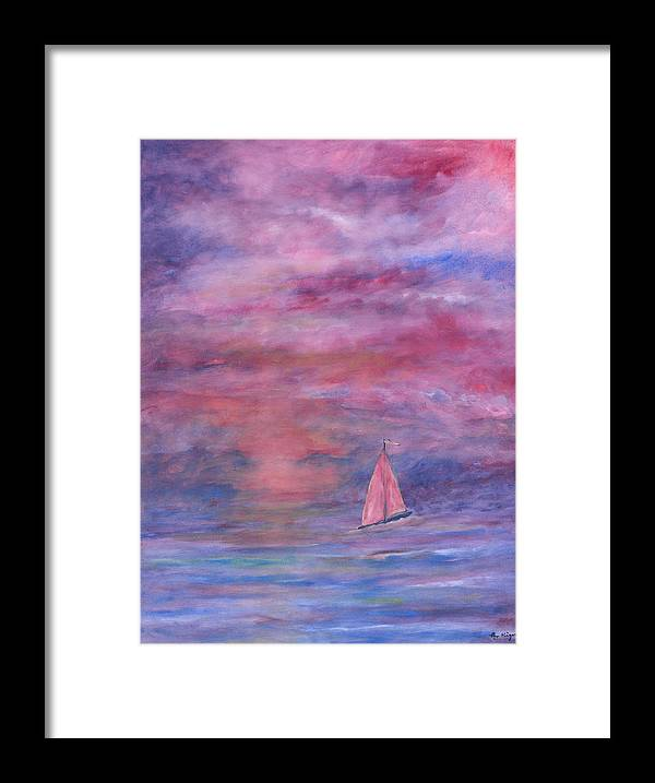 Saling Framed Print featuring the painting Sunset Adventure by Ben Kiger