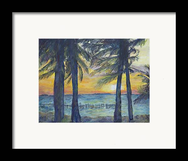 Palm Framed Print featuring the painting Sunset At Buho's by Nick Vogel