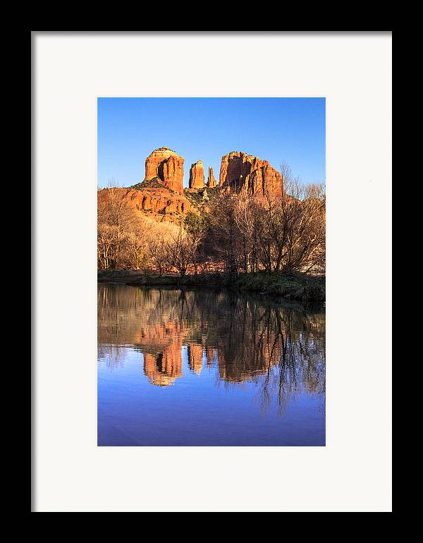 Arizona Framed Print featuring the photograph Sunset At Cathedral Rock In Sedona Az by Teri Virbickis