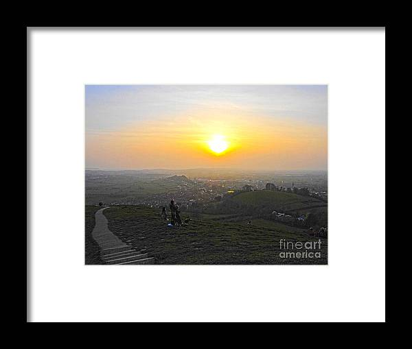 Sunset Framed Print featuring the digital art Sunset At Glastonbury Tor by Andrew Middleton