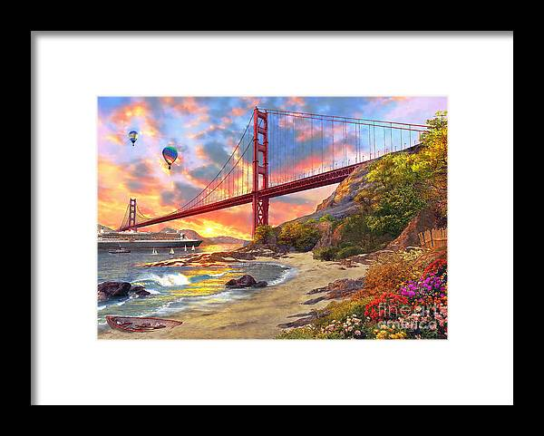 Golden Gate Framed Print featuring the digital art Sunset at Golden Gate by MGL Meiklejohn Graphics Licensing