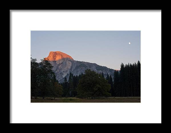 Half Dome Framed Print featuring the photograph Sunset At Half Dome by Kate Livingston