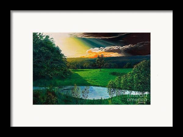 Sunset Framed Print featuring the painting Sunset At L Hermitiere by Christian Simonian