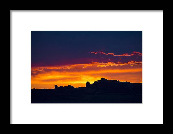 Photography Framed Print featuring the digital art Sunset At Landscape Arch by Neal Hebert