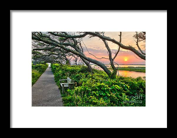 Sunset Framed Print featuring the photograph Sunset At Pea Island Wildlife Refuge Outer Banks I by Dan Carmichael