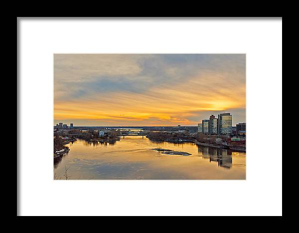 River Framed Print featuring the photograph Sunset At The City By The River by Celso Bressan