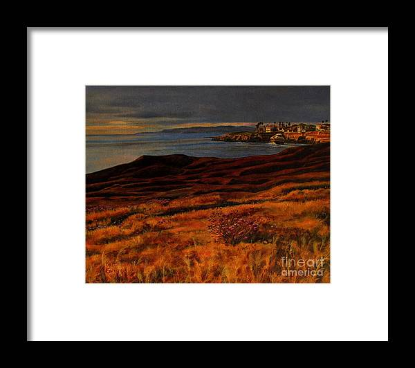 Sunset Cliffs Framed Print featuring the painting Sunset at the Cliffs by Keith Gantos