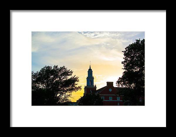 Oklahoma Framed Print featuring the photograph Sunset At The Library by Nathan Hillis