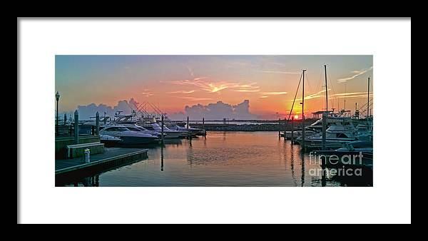 Seascape Framed Print featuring the photograph Sunset At The Marina by Jim Sweida