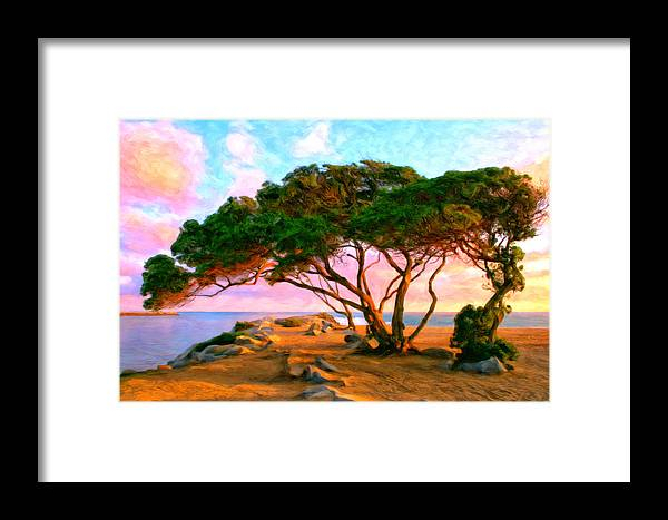Sunset Framed Print featuring the painting Sunset At The Wedge In Newport Beach by Michael Pickett