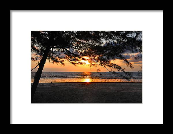 Beach Framed Print featuring the photograph Sunset At Tropical Beach. by Pisit Santikulluk