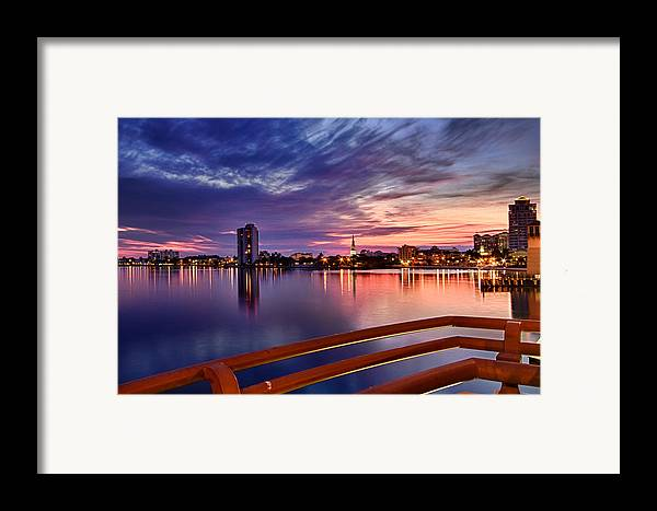 Boats Framed Print featuring the photograph Sunset Balcony Of The West Palm Beach Skyline by Debra and Dave Vanderlaan