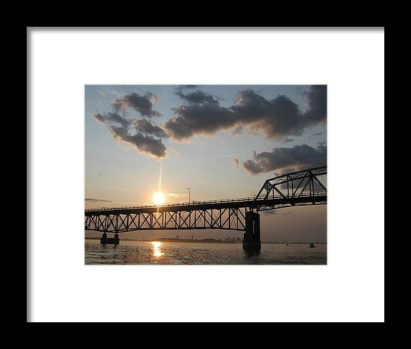 Boston Harbor Framed Print featuring the photograph Sunset Boston by Laura Lee Zanghetti