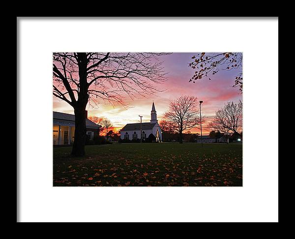 Cape Cod Framed Print featuring the photograph Sunset Church by David DeCenzo