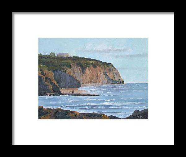 Framed Print featuring the painting Sunset Cliffs Ca by Raymond Kaler