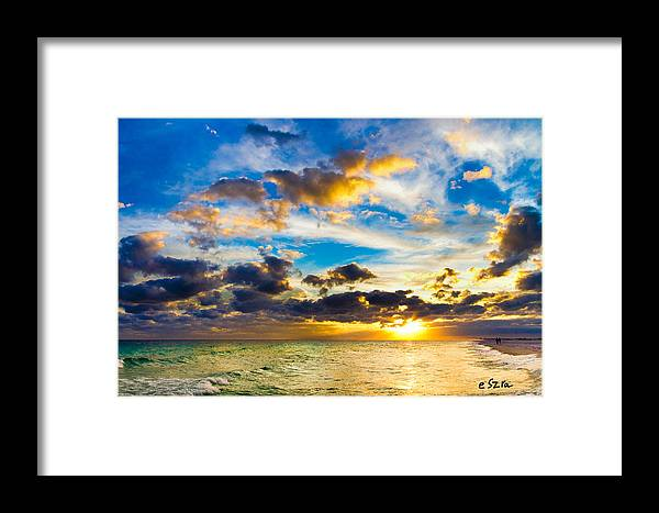 Sunset Framed Print featuring the photograph Sunset Cloudscape Silver Lining-gold Blue Pensacola Sky by Eszra Tanner