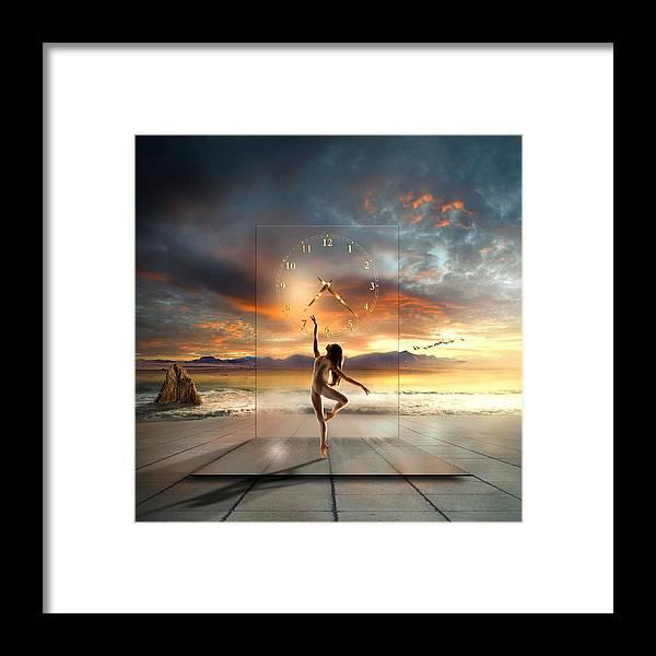 Ballet Dancer Framed Print featuring the digital art Sunset Dancing by Franziskus Pfleghart