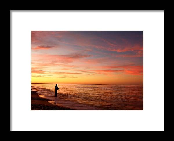 Cape Cod Framed Print featuring the photograph Sunset Fishing 2 by David DeCenzo