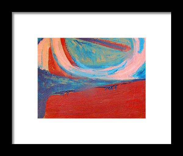 Framed Print featuring the painting Sunset From The Plane by Camille Glenn