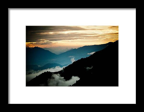 Gosaikunda Framed Print featuring the photograph Sunset Himalayas Mountain Nepal Panaramic View by Raimond Klavins