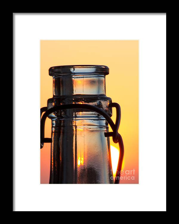 Abstract Framed Print featuring the photograph Sunset In A Bottle by Christos Koudellaris