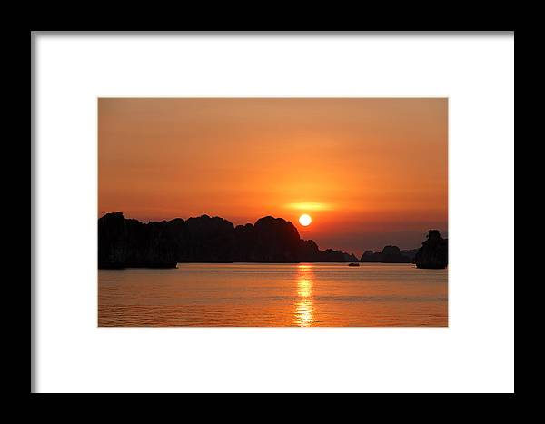 Sunset Framed Print featuring the photograph Sunset In Bai Tu Long by Roger Fonts